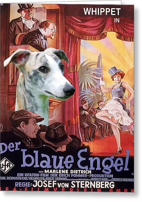 Engels Greeting Cards - Whippet Art - Der Blaue Engel Movie Poster Greeting Card by Sandra Sij