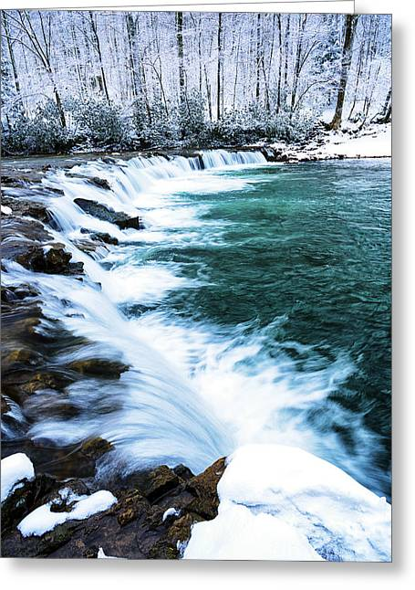 Randolph County Greeting Cards - Whitaker Falls in Winter Greeting Card by Thomas R Fletcher