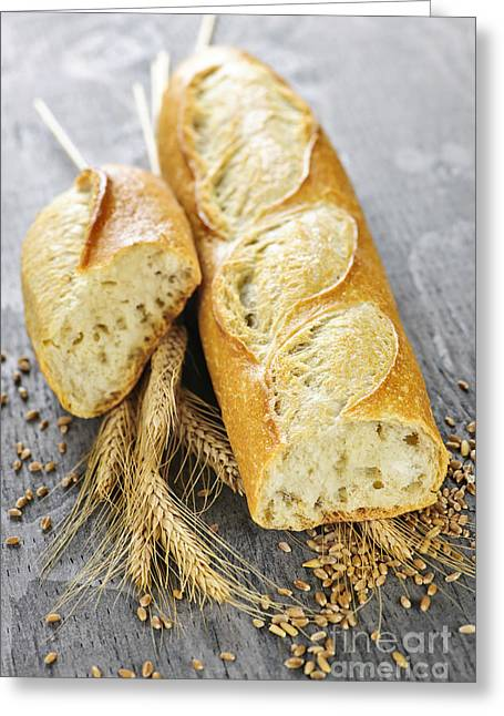 Bread Greeting Cards - White baguette Greeting Card by Elena Elisseeva