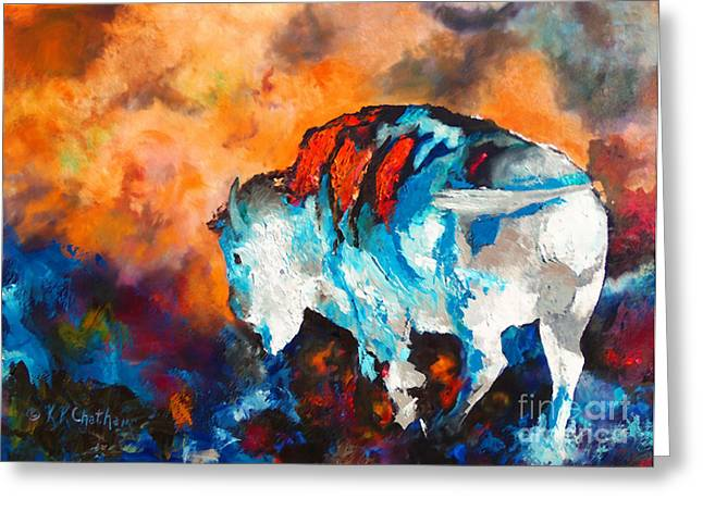 Chatham Paintings Greeting Cards - White Buffalo Ghost Greeting Card by Karen Kennedy Chatham