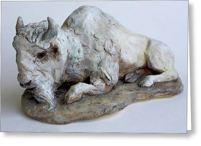 White Ceramics Greeting Cards - White Buffalo-Sculpture Greeting Card by Derrick Higgins