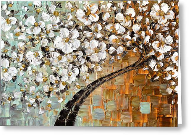 Cherry Blossoms Paintings Greeting Cards - White Cherry Blossom Greeting Card by Susanna Shap