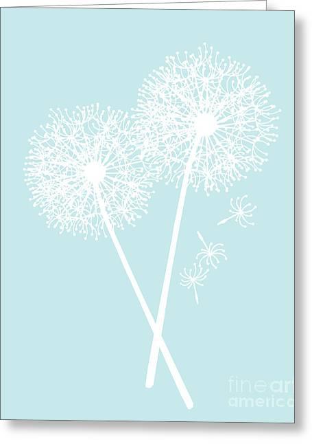 Azur Digital Greeting Cards - White Dandelions Greeting Card by Edit Voros
