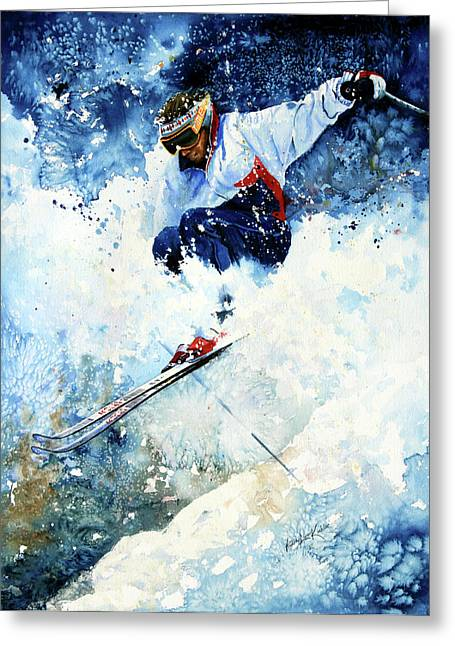 Slalom Skiing Greeting Cards - White Magic Greeting Card by Hanne Lore Koehler