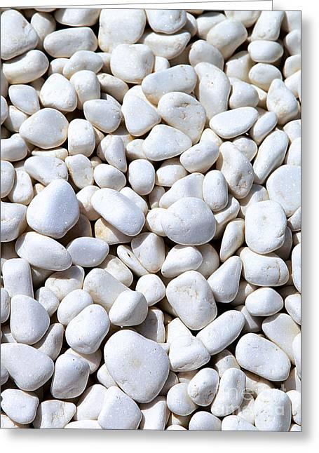 White Pebbles Greeting Card by Eleni Mac Synodinos