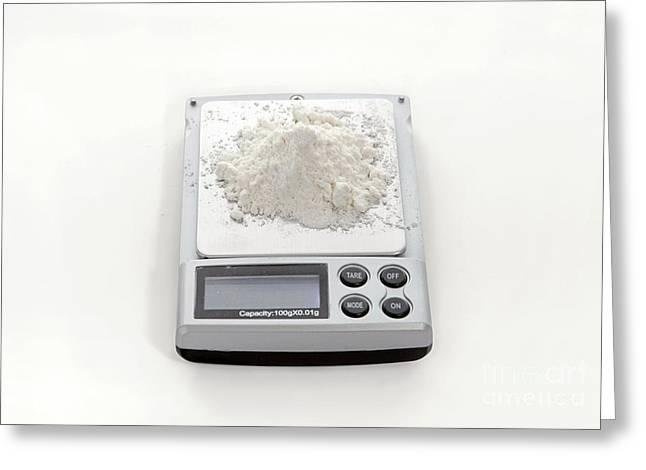 White Powder Greeting Cards - White Powder Being Weighed Greeting Card by PhotoStock-Israel