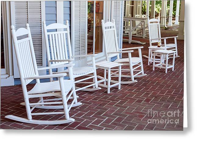 Commercial Photography Greeting Cards - White Rockin chairs Greeting Card by Iris Richardson