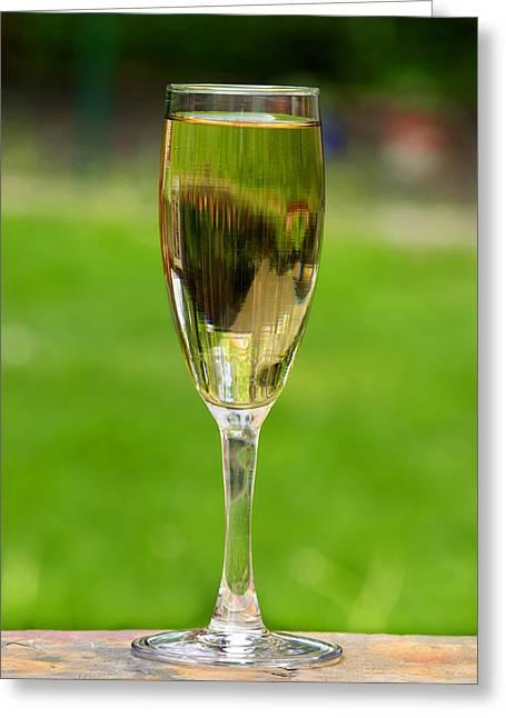 Ledge Photographs Greeting Cards - White Wine on Patio Ledge Greeting Card by Donald  Erickson