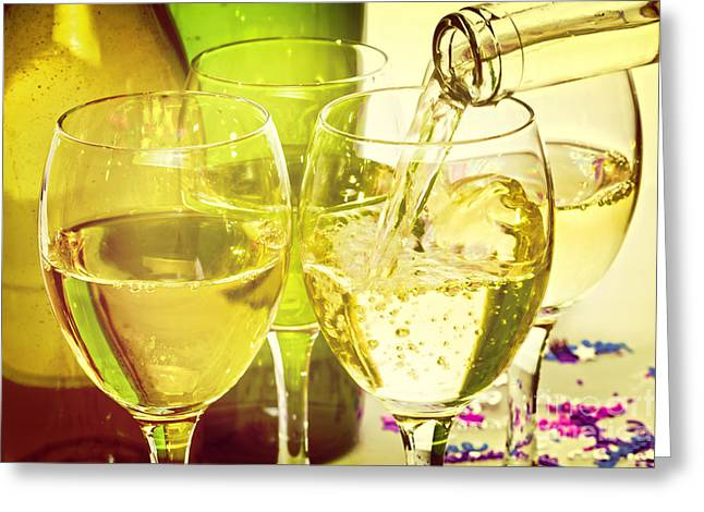Wine Pour Greeting Cards - White Wine Pouring into Glasses Greeting Card by Colin and Linda McKie
