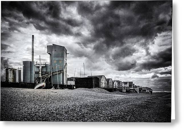 Moody Beach Greeting Cards - Whitstable Beach Greeting Card by Ian Hufton