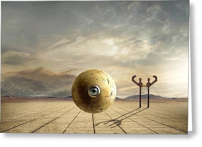 Ball Mixed Media Greeting Cards - Who Controls You Greeting Card by Franziskus Pfleghart