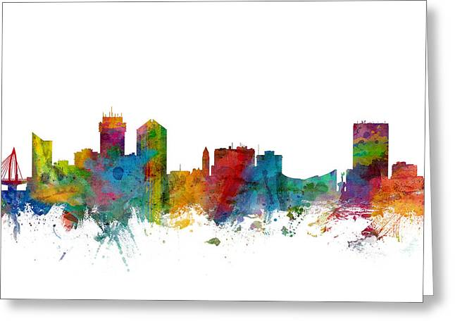Kansas City Skyline Greeting Cards - Wichita Kansas Skyline Greeting Card by Michael Tompsett