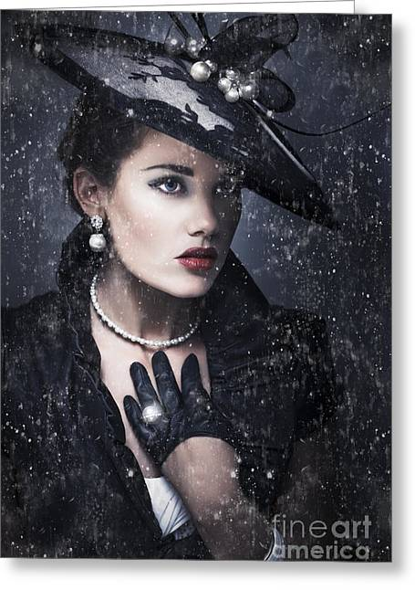 Black Widow Greeting Cards - Widow At Funeral Greeting Card by Ryan Jorgensen