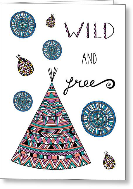 Native American Illustration Greeting Cards - Wild And Free Greeting Card by Susan Claire