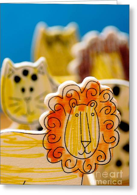 Toy Greeting Cards - Wild Animals Colored by a Child Greeting Card by Amy Cicconi