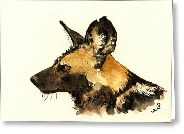 Wild Dogs Greeting Cards - Wild dog Greeting Card by Juan  Bosco