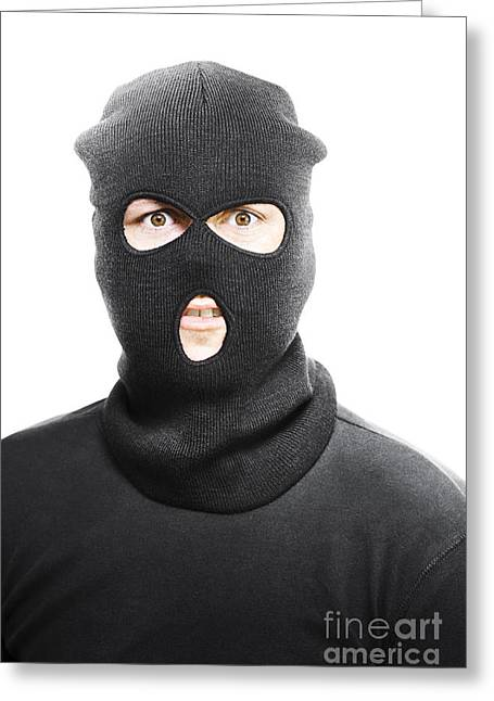 Balaclava Greeting Cards - Wild eyed masked bandit Greeting Card by Ryan Jorgensen