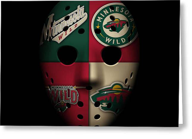 Skate Greeting Cards - Wild Goalie Mask Greeting Card by Joe Hamilton