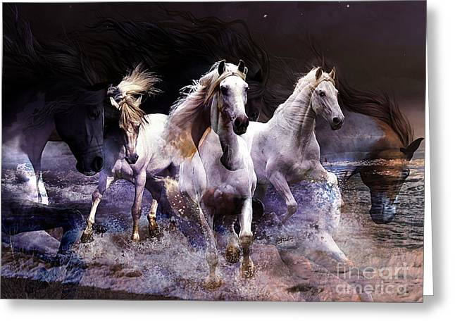 Mustang Greeting Cards - Wild Horses Greeting Card by Marvin Blaine