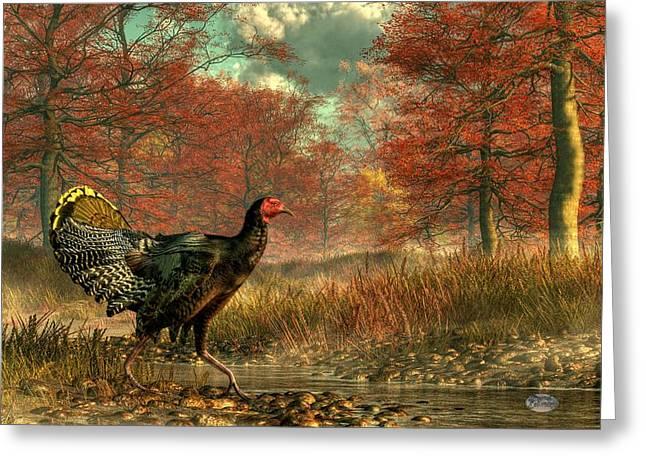 Wild Turkey Greeting Card by Daniel Eskridge