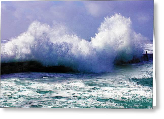 Wild Waves In Cornwall Greeting Card by Terri Waters
