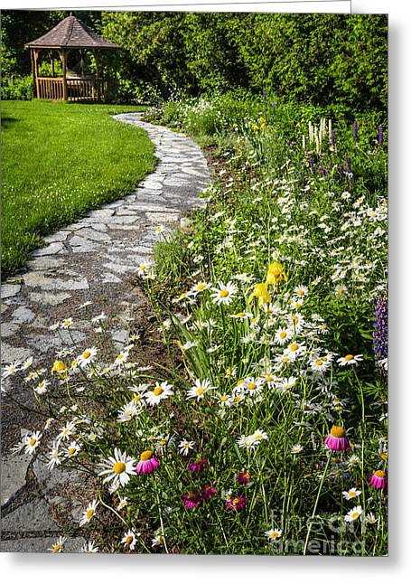 Summer Landscape Photographs Greeting Cards - Wildflower garden and path to gazebo Greeting Card by Elena Elisseeva
