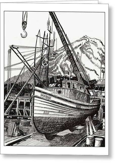 Pen And Ink Framed Prints Greeting Cards - Will fish again another day Greeting Card by Jack Pumphrey