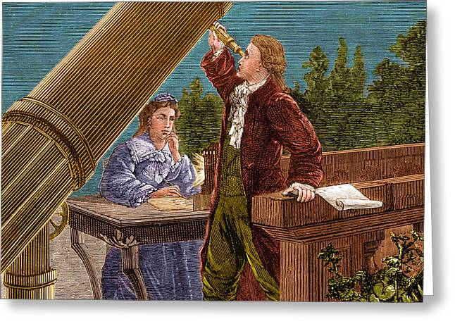 Williams Sisters Greeting Cards - William And Caroline Herschel, German Greeting Card by Science Source