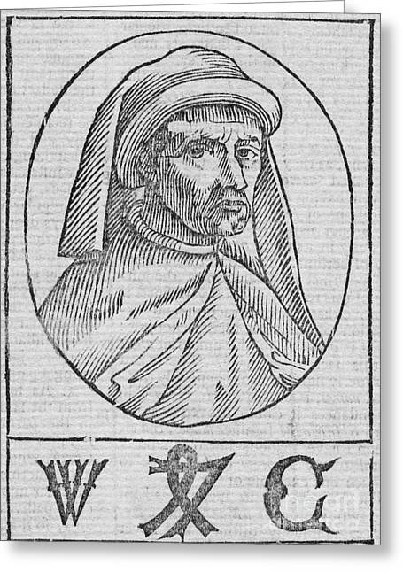 1750s Greeting Cards - William Caxton, English Printer Greeting Card by Middle Temple Library