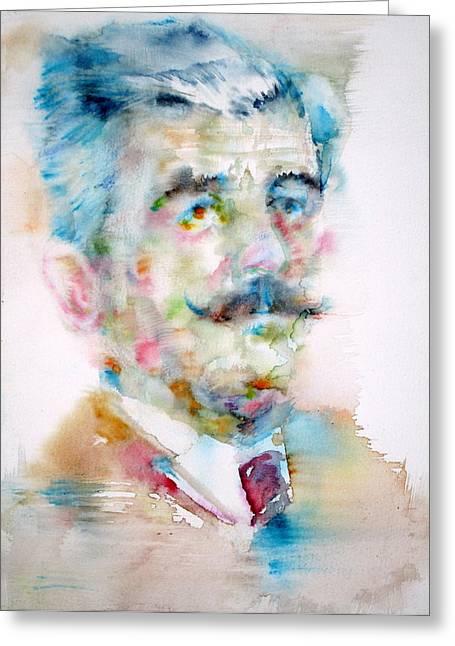 Mustache Greeting Cards - WILLIAM FAULKNER - watercolor portrait Greeting Card by Fabrizio Cassetta