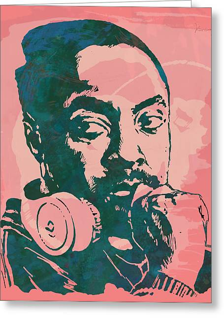 Williams Greeting Cards - Will.I.Am - Stylised Etching Pop Art Poster Greeting Card by Kim Wang