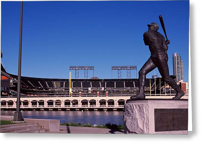 Baseball Parks Photographs Greeting Cards - Willie Mays Statue In Front Greeting Card by Panoramic Images