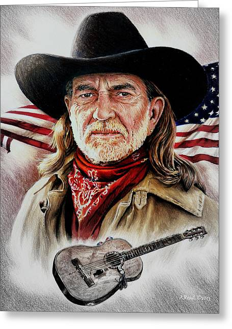 White Beard Greeting Cards - Willie Nelson American Legend Greeting Card by Andrew Read