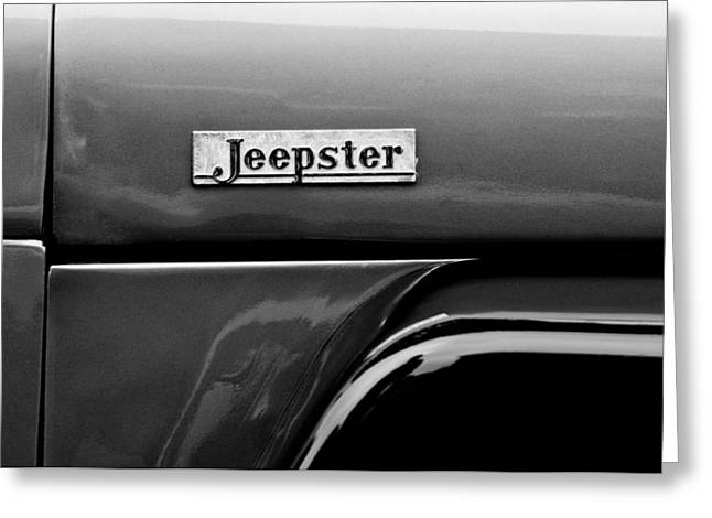 Willys Greeting Cards - Willys Jeepster Side Emblem Greeting Card by Jill Reger
