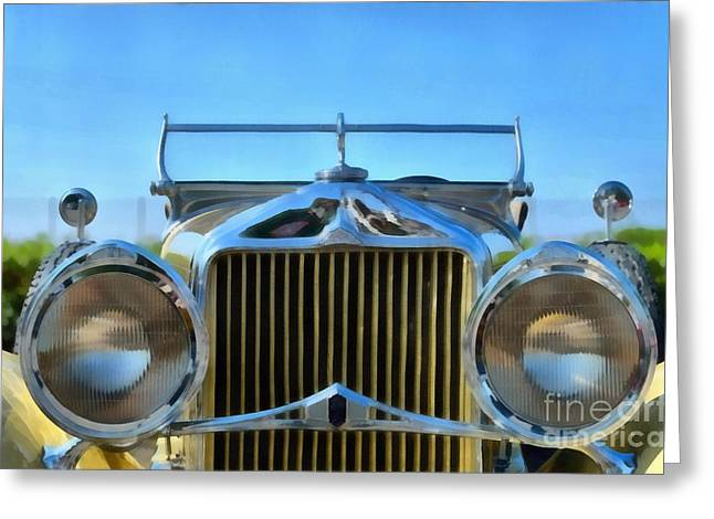 Car Mascot Paintings Greeting Cards - 1930 Willys Knight Greeting Card by George Atsametakis