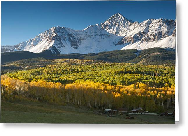 Photos Of Autumn Greeting Cards - Wilson Peak Greeting Card by Aaron Spong