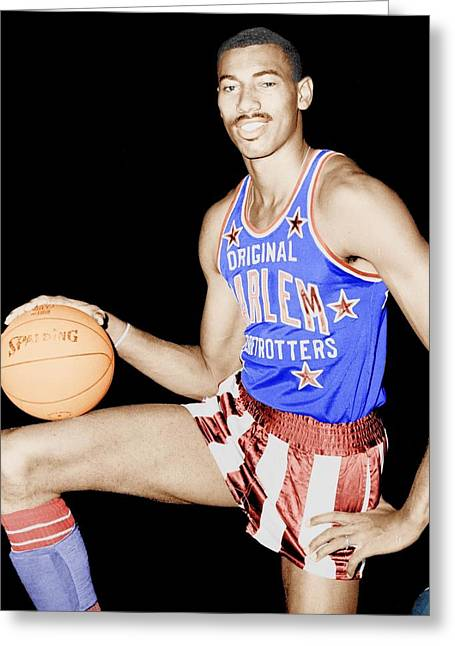 1950s Portraits Photographs Greeting Cards - Wilt Chamberlain as a Member of the Harlem Globetrotters  Greeting Card by Mountain Dreams