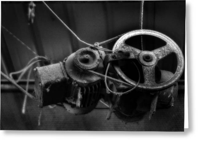 Rusty Oil Drum Greeting Cards - Winch and Pulley Greeting Card by Michael Braham