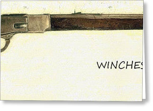 Bayonet Paintings Greeting Cards - Winchester 1873 Greeting Card by Odon Czintos