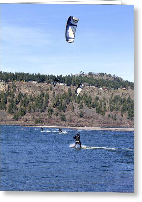 Wind Surfing Greeting Cards - Wind surfing in the Columbia River Gorge Oregon. Greeting Card by Gino Rigucci