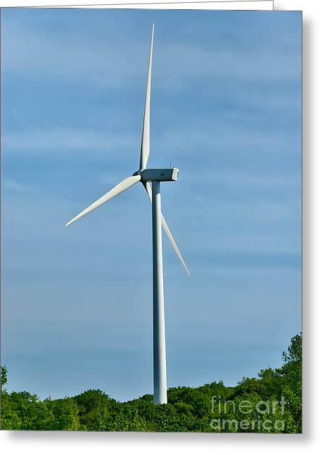 Alternative Energy Greeting Cards - Wind Turbine Greeting Card by Amy Cicconi