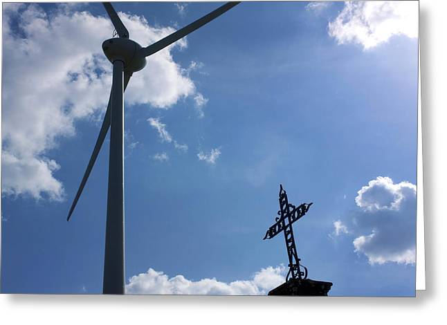 Power Plants Greeting Cards - Wind turbine and cross Greeting Card by Bernard Jaubert
