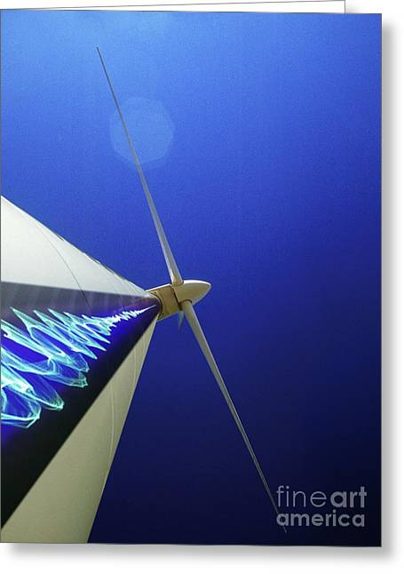 Industrial Concept Greeting Cards - Wind Turbine Generating Electricity Greeting Card by Richard Kail