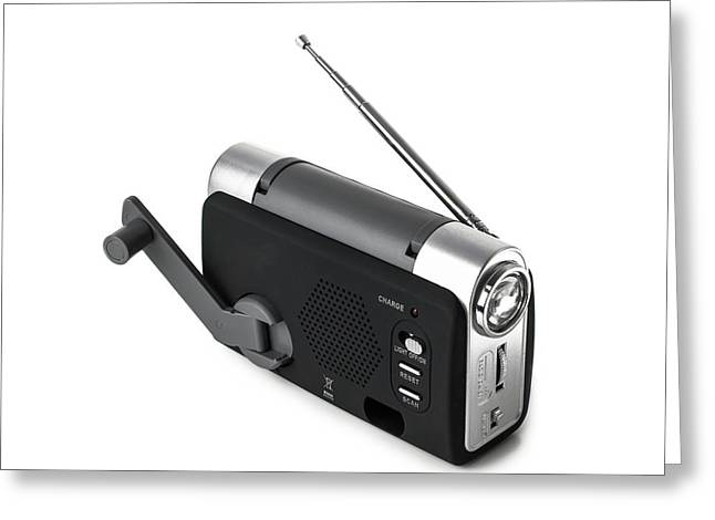 Wind-up Radio And Torch Greeting Card by Science Photo Library