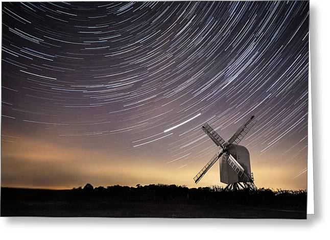 Stars Trail Greeting Cards - Windmill on a starry night. Greeting Card by Ian Hufton