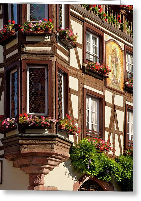 Window And Flower Boxes In Kaysersberg Greeting Card by Brian Jannsen