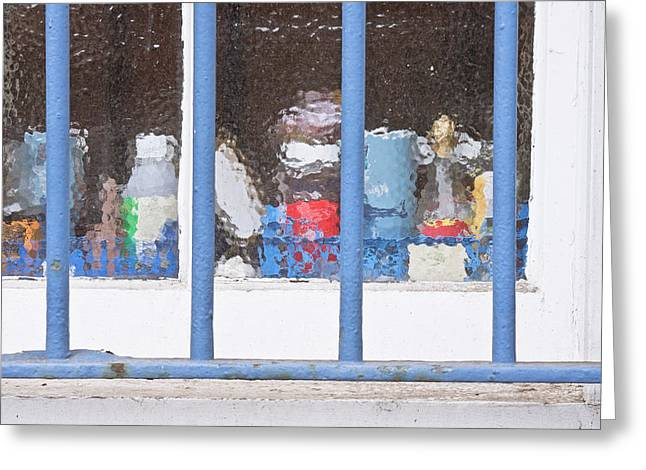 Problem Greeting Cards - Window bars Greeting Card by Tom Gowanlock
