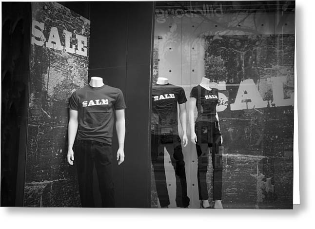 White Slacks Greeting Cards - Window Display Sale with Mannequins No.0112 Greeting Card by Randall Nyhof