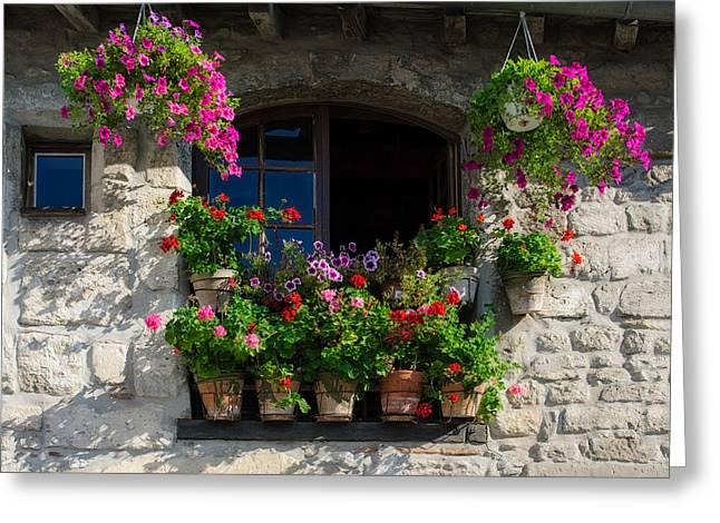 Provence Village Greeting Cards - Window Dressing Greeting Card by Michael Blanchette
