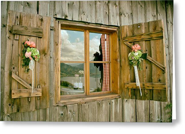 Cabin Window Greeting Cards - Window Reflections of Switzerland Greeting Card by Mountain Dreams